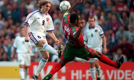 Karel Poborsky scores the winning goal for the Czech Republic against Portugal at Euro 1996